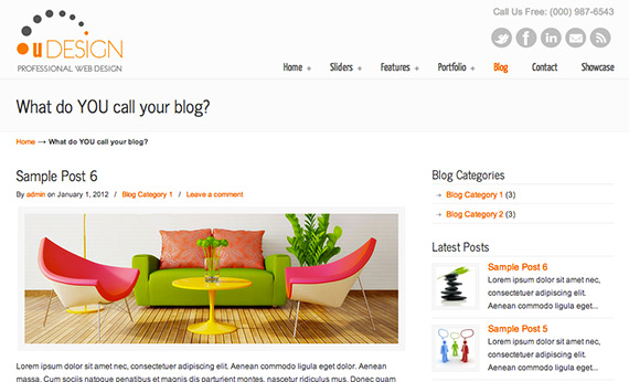 User friendly blog theme