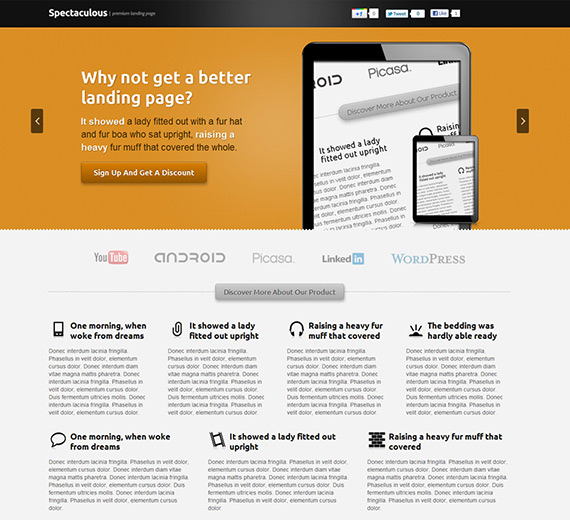 Spectaculous landing page