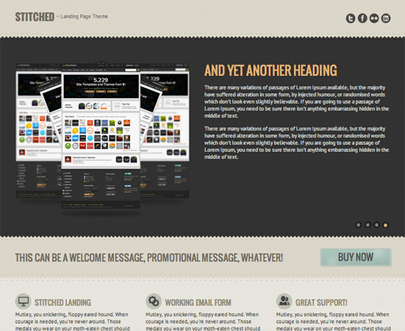 Stitched landing page