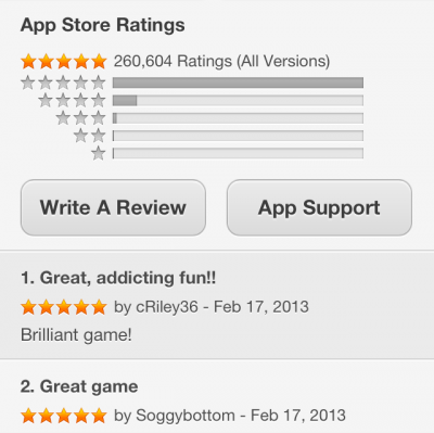 Positive app review