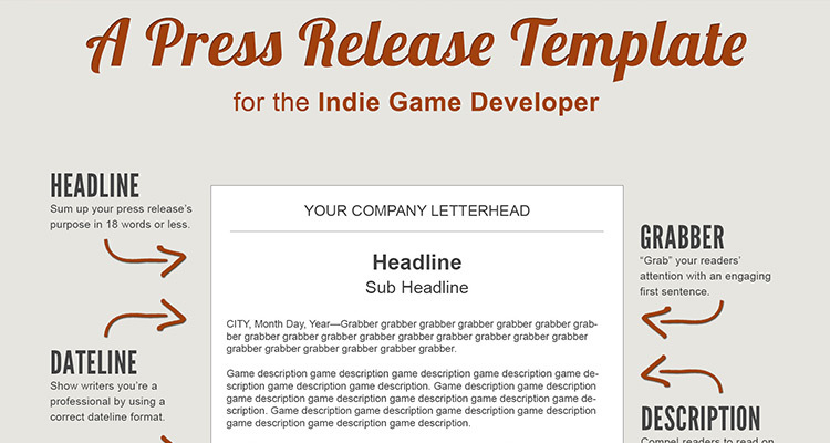 acquisition press release template - a press release template perfect for the indie game developer