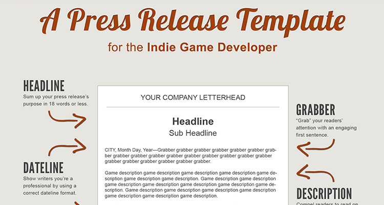 A press release template perfect for the indie game developer for Template of a press release