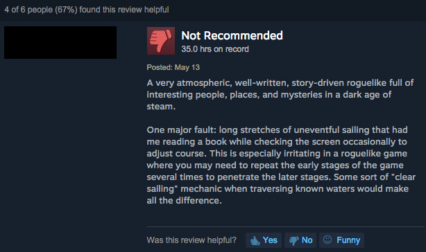 Constructively Negative Steam Customer Review