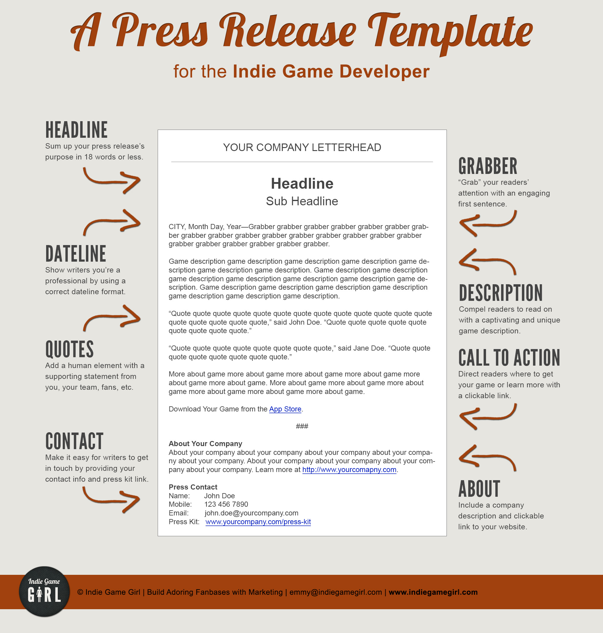 press release brief template - a press release template perfect for the indie game developer