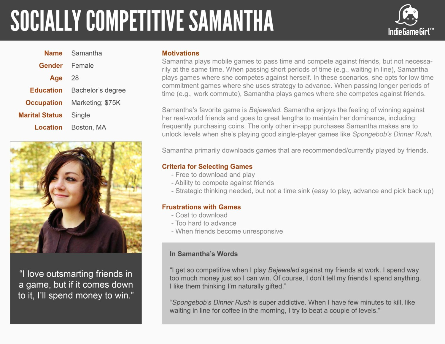 buyer persona template and filled in example free psd template